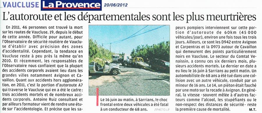 article La Provence 20 juin 2012 routes meurtrières